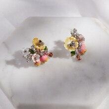 Vanssey brincos de pérola femininos, joias da moda com flor de pérola, esmalte em zircônia cúbica, acessórios para mulheres, novo 2018