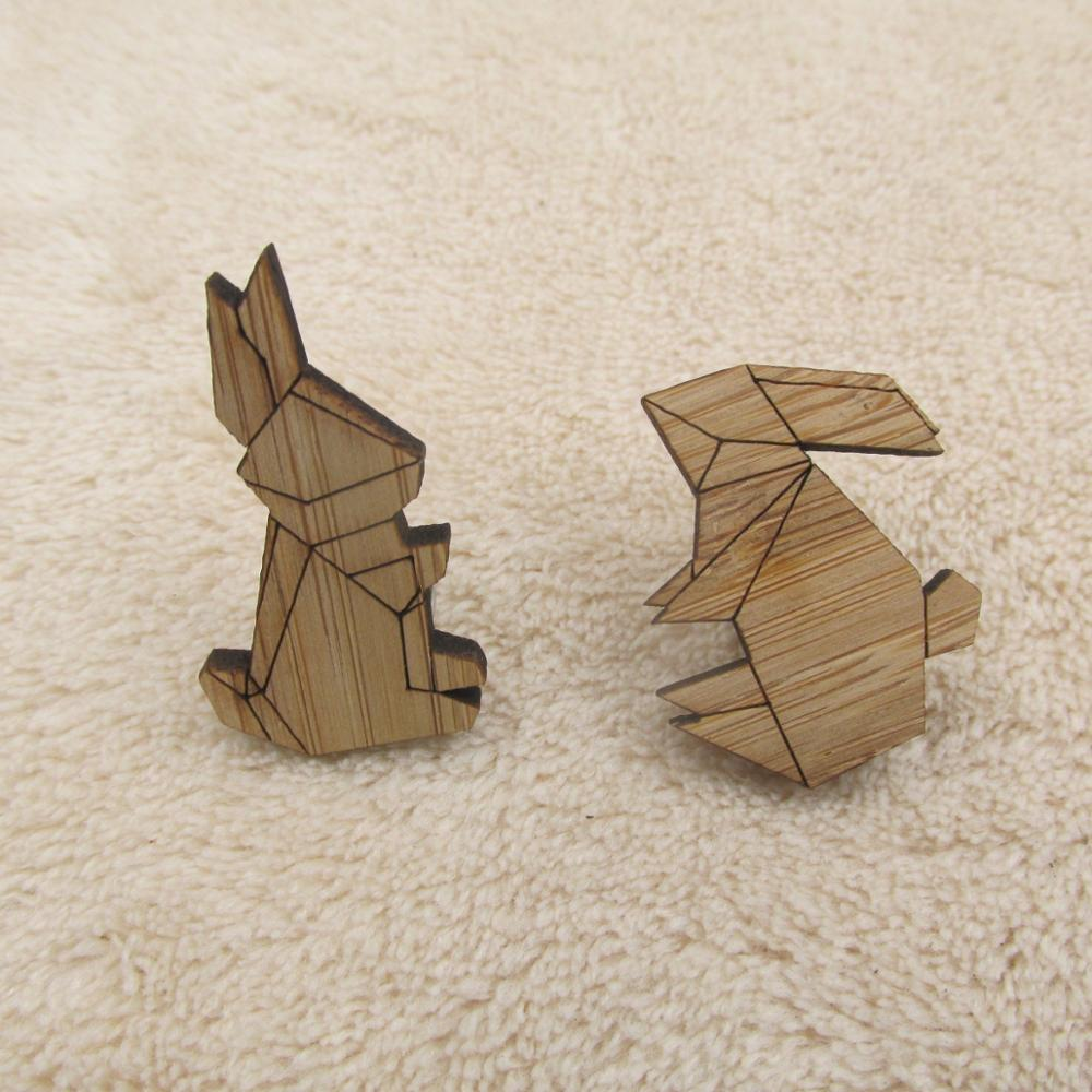 bf406493179 2018 Fashion Origami Crane Rabbit Brooches Enamel Pin Wooden Cony Lapin Brooch  Pin Animal Enamel Pins Badges Jewelry-in Brooches from Jewelry & Accessories  ...