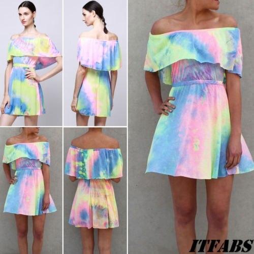 Women Falbala Off Shoulder Boho Mini Dress Summer Beach Holiday Party Sundress