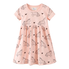 New 2019 summer girl dress cotton cute unicorn Animal print toddler girl dresses 2-7T princess dress kids girls clothes vestido