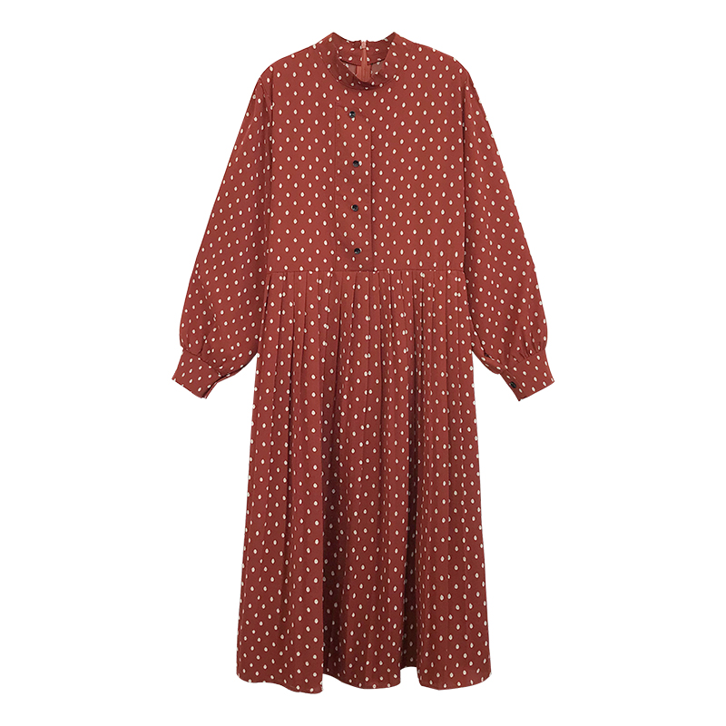 2019 spring female temperament round collar chiffon long polka dot shirts dress long lantern sleeve plus