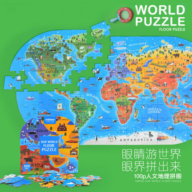 76*40CM Children World Map Puzzle Earth Puzzle Kids Early ...