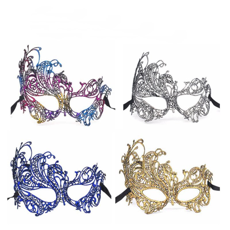 1 Pcs Hot Stamping Ladies <font><b>Sexy</b></font> Lace Masquerade <font><b>Mask</b></font> for Carnival <font><b>Halloween</b></font> Prom Half Face Ball Party <font><b>Masks</b></font> Cutout Eye <font><b>Mask</b></font> image