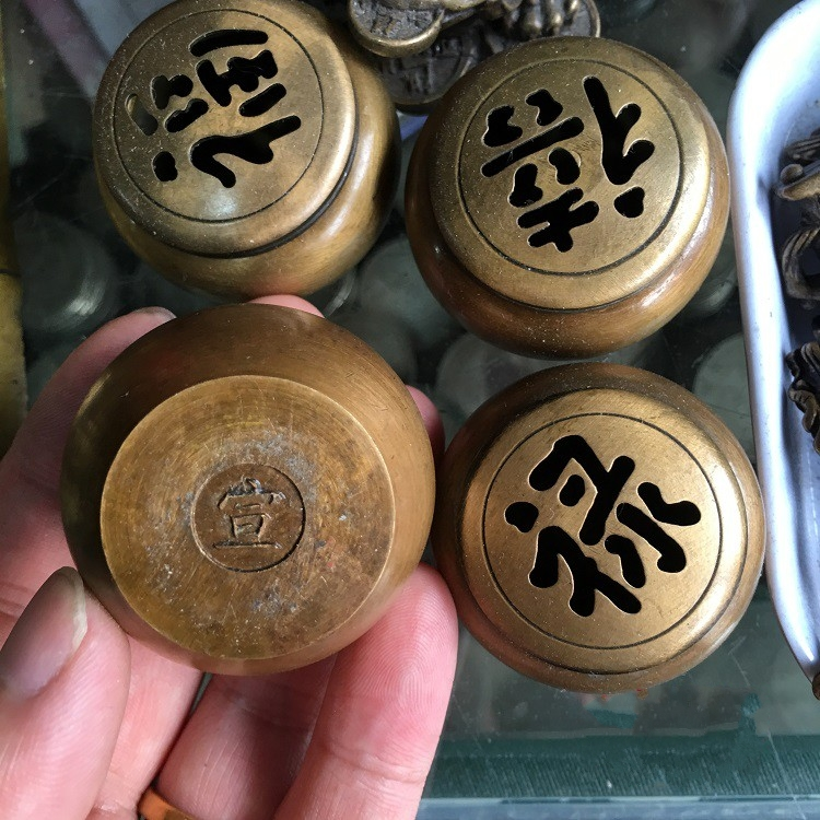 Collectable Chinese Brass Carved Buddhism Fu Lu Shou  Mini Incense Burner Censer  Exquisite Small Statues