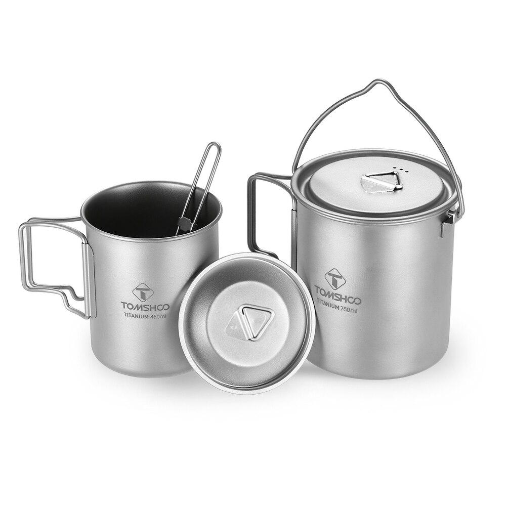 TOMSHOO 750ml Pot 450ml Water Cup Camping Hiking 3 Cup Set Titanium Mug Lid CollapsibleHandle Folding