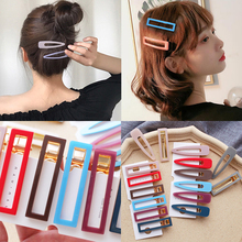 Women  Girl Acrylic hairpin Candy color Waterdrop Geometric 1 piece Triangle Duckbill clip Fashion Simple Korea Hollow