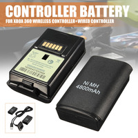 2 шт. 4800 мАч пакет перезаряжаемых батарей комплект + зарядный кабель для Xbox 360 беспроводной/проводной контроллер зарядное устройство резервн...