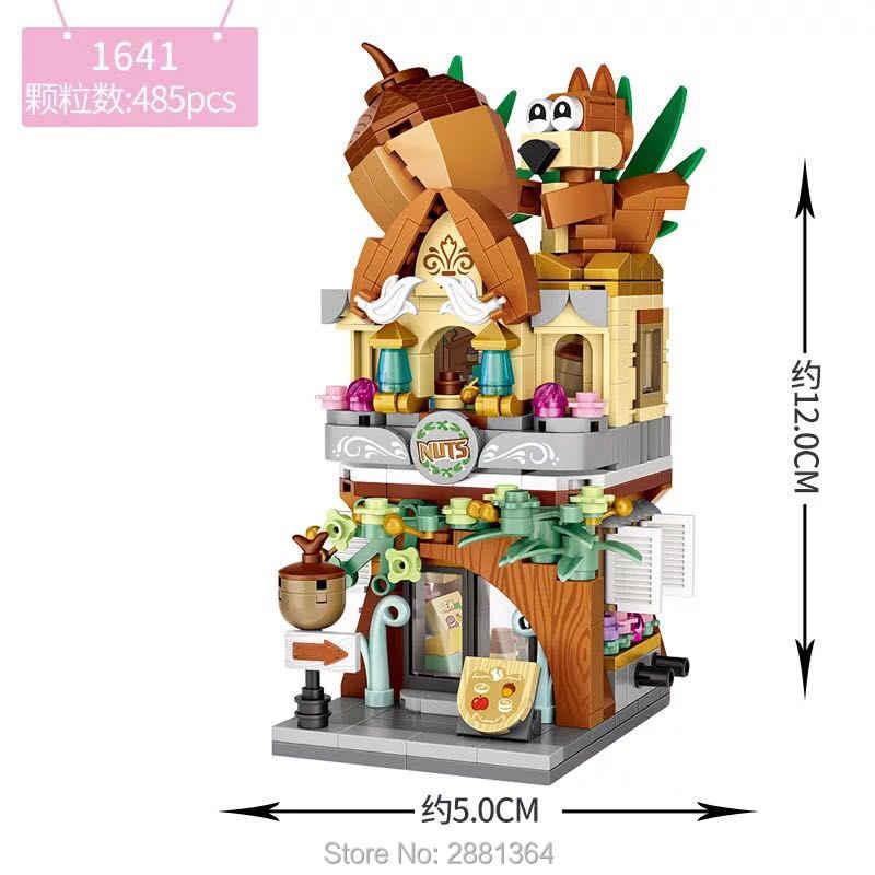 Hot LOZ Mini Street Blocks widok na miasto Nut shop sklep z zabawkami sala gier sklepy z cukierkami modele cegły budowlane zabawka na boże narodzenie dla dzieci