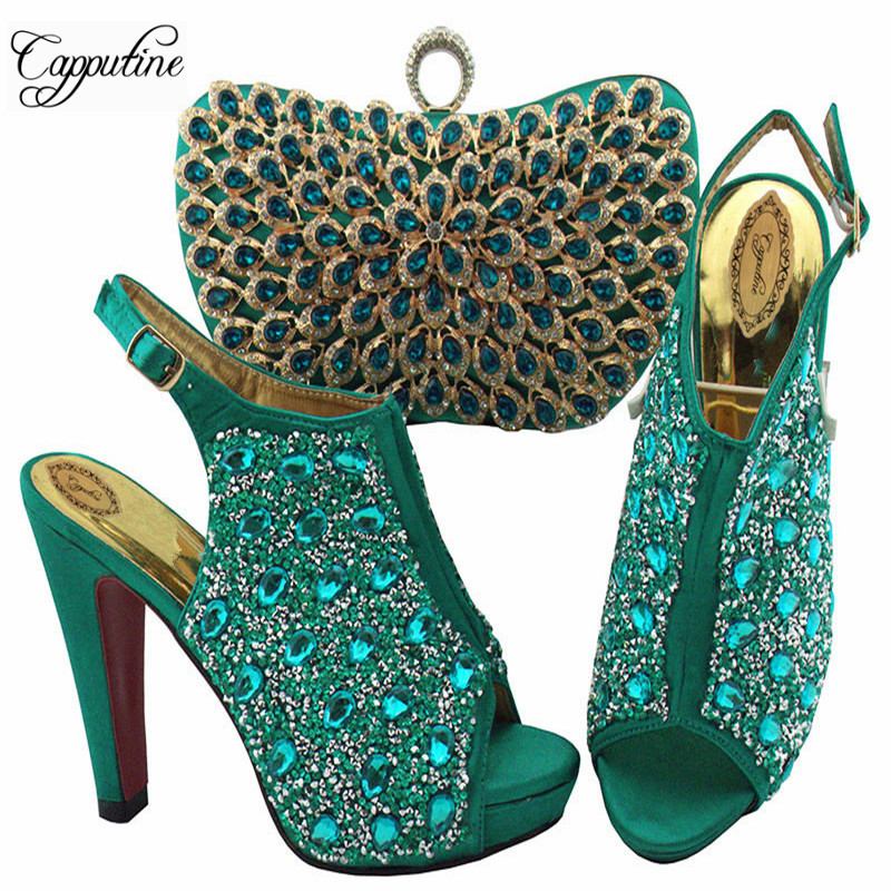 Hot Sale Fashion Italian Crystal Shoes And Bag Set European Design Woman High Heel Shoes And