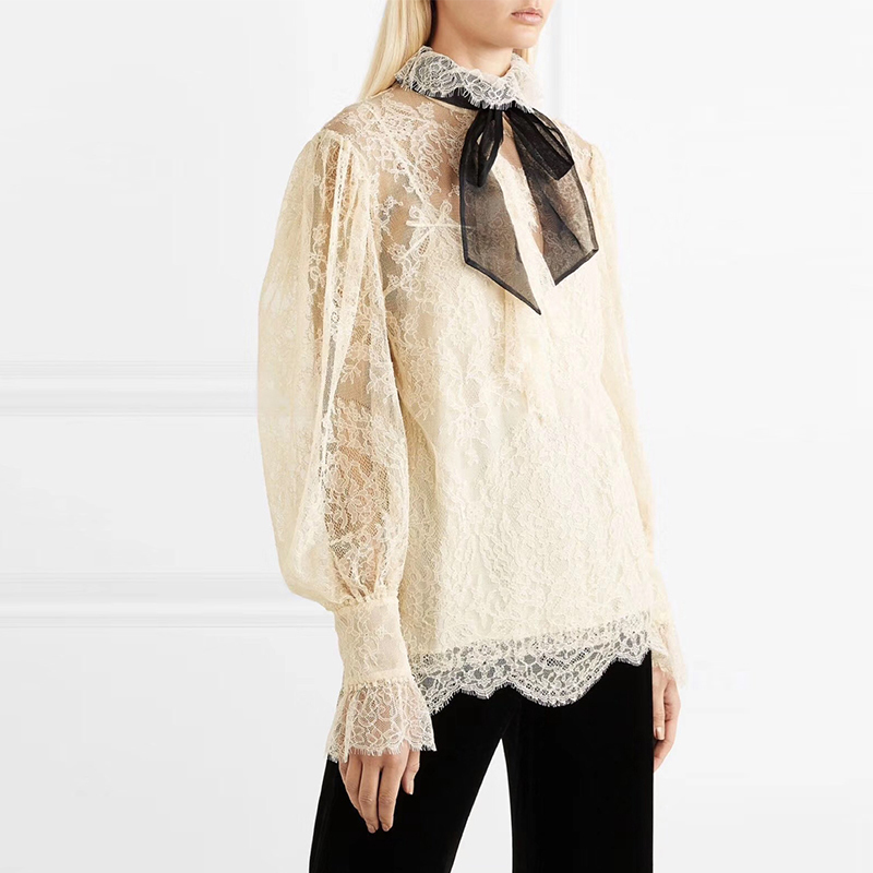 DEAT 2019 new spring fashion women clothing bow collar lace patchwork PUFF sleeves hollow out sexy