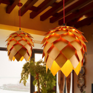 Image 5 - Retro Nordic Pinecone Led Pendant Lamps Modern Wooden modern DIY IQ Elements Puzzle Bedroom Art Wood Lamparas Light Fixtures