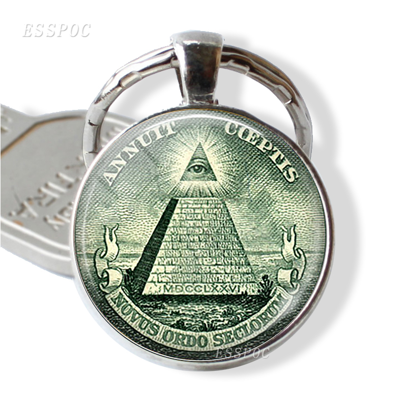 All Seeing Eye Key Chain Illuminati Dollar Bill Jewelry Pyramid Glass Cabochon Metal Accessories Car Key Ring
