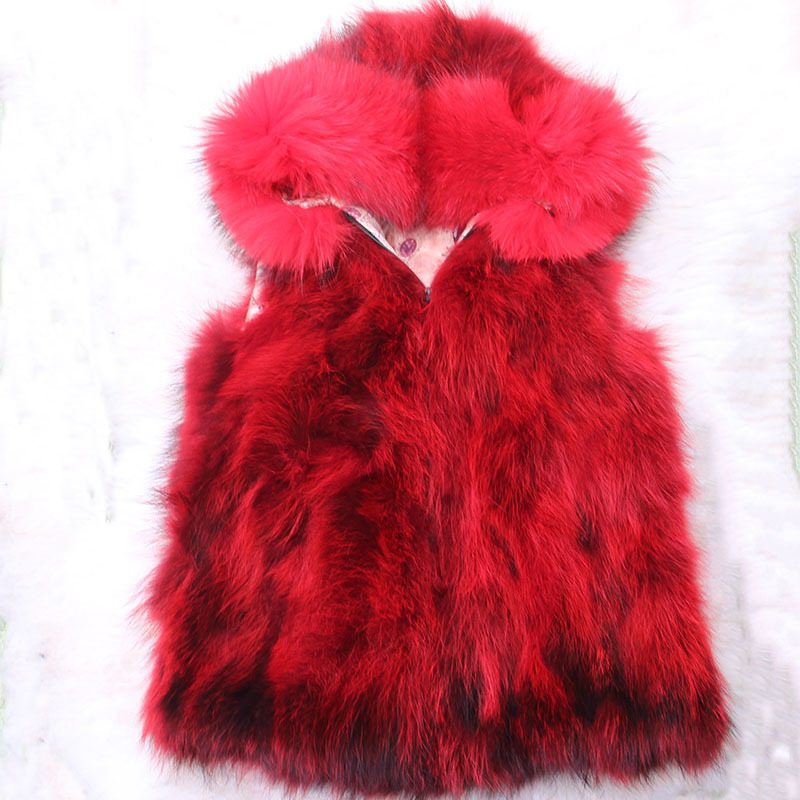 Children Real Fox Fur Vest Girls Autumn Winter Thick Warm Long Fox Fur Clothing Vest Kids Solid V-Neck Warm Waistcoats V#12 round neck stitching crochet lace vest
