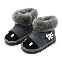 купить Winter Toddler Baby Girl Cartoon Snow Boot Child Fashion Genuine Leather Black Warm Fur Flat Kid Shoe kid warm shoes дешево