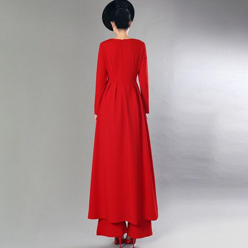 Lanmrem 여성을위한 2 조각 세트 긴 소매 풀오버 롱 탑 + 높은 허리 플레어 바지 2019 봄 패션 새로운 기질 yg688-에서여성 세트부터 여성 의류 의  그룹 2