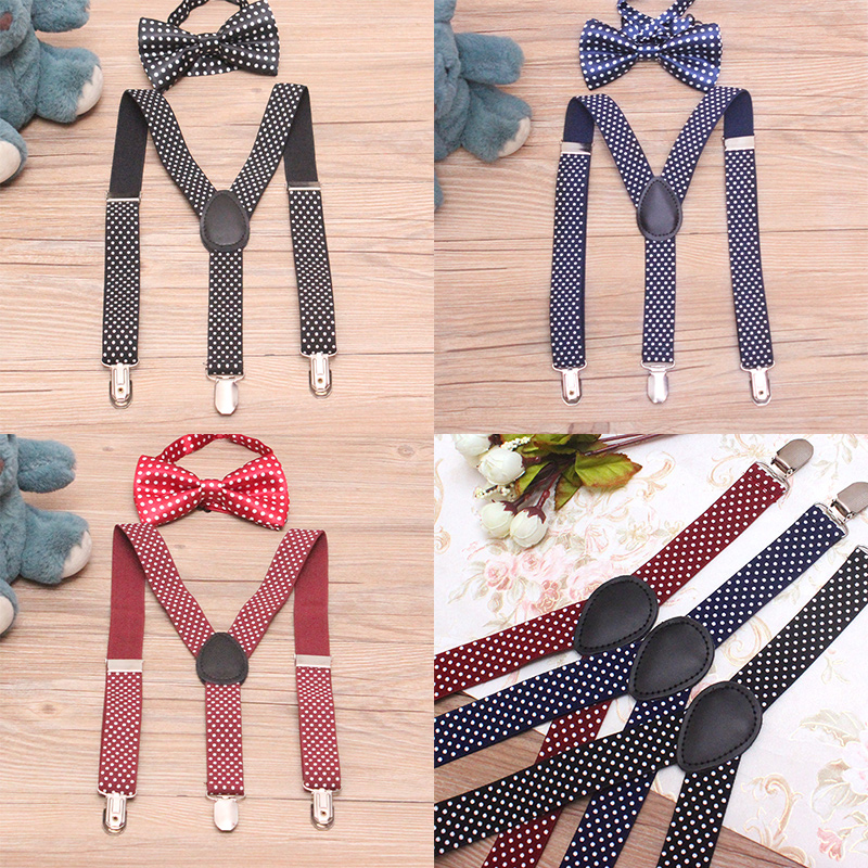 1 Set Baby Boys Girls Children Polka Dot Suspender For Party Cute Kids New Elastic Adjustable 3-clips Suspenders With Bowtie Set