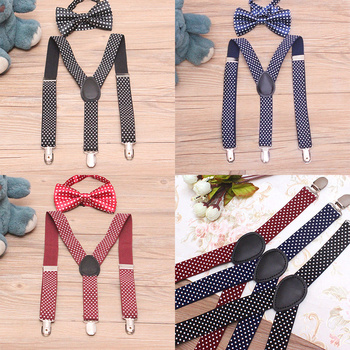 1 set Baby Boys Girls Children Polka Dot Suspender for Party Cute Kids New Elastic Adjustable 3-clips Suspenders with Bowtie Set cute kids satchel with polka dot and cartoon shape design