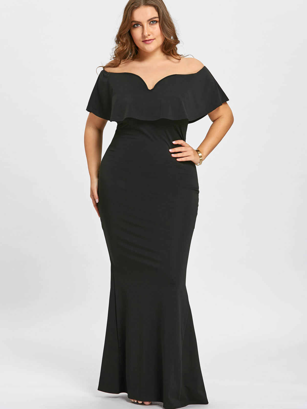 Gamiss Women Maxi Dresses Plus Size 5XL Ruffle Off The Shoulder Mermaid  Dress Short Sleeves Evening e94f865c105e