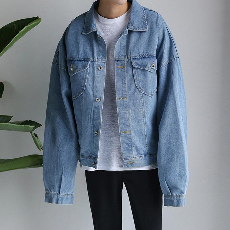 Leisure Korean Harajuku Fashion Casual Solid Color Handsome Lapel Multi-Pocket Spring And Autumn Windproof Denim Jacket M-3XL
