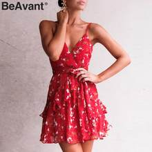 d75eb4dea12 BeAvant V-neck spaghetti strap boho dress women Elegant floral print short summer  dress 2019 Ruffle style ladies dresses casual