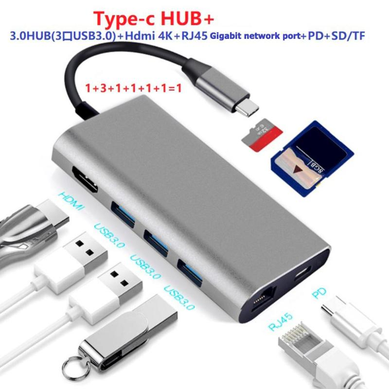 Hot 8 in 1 Multi Ports USB3 0 Type C HUB To 4K Video HDMI Adapter