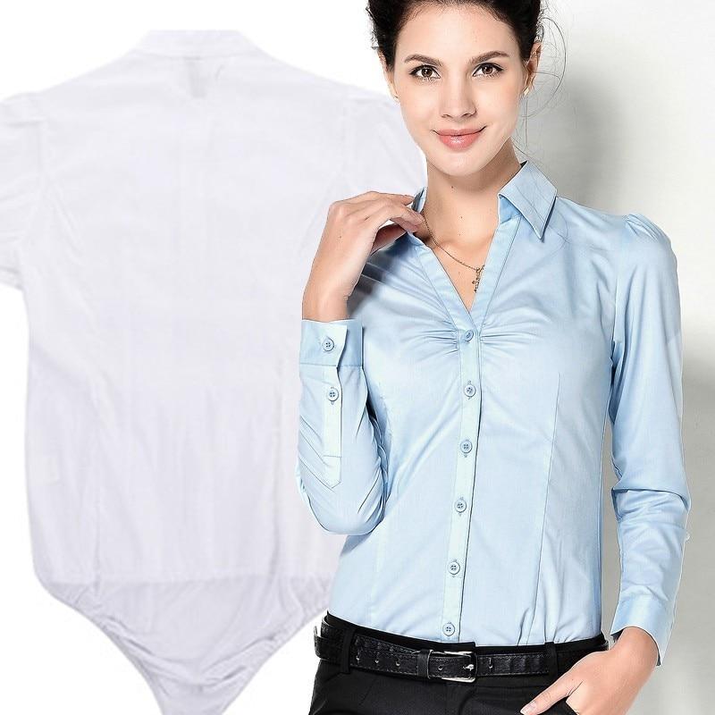 Women Slim Work Ladies Office Shirt With Underpants Tops Bodysuit Blouse Autumn White Fold Long plus size camisa feminina blusa