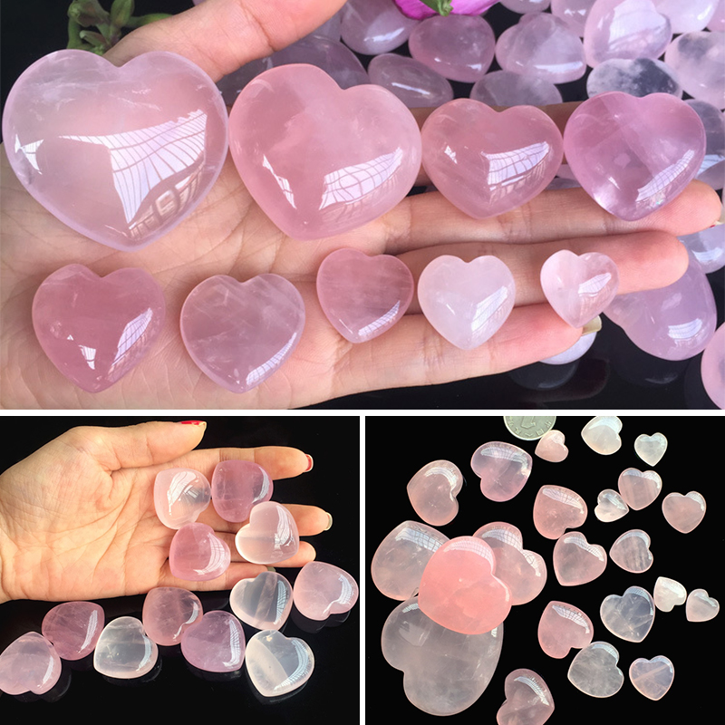 Heart Carved Pink Earrings Necklace Accessories 1pc New 7 Size Palm Love DIY Healing Gemstone Fashion Natural  Rose Quartz