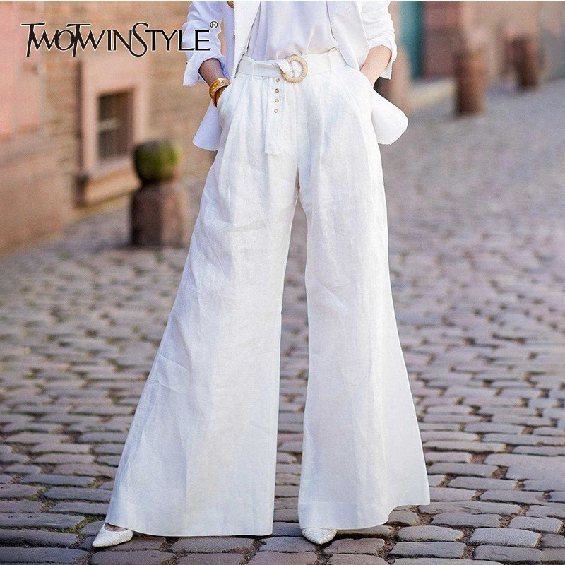 TWOTWINSTYLE Elegant White   Wide     Leg     Pants   Female High Waist Sashes Oversized Long Trousers For Women 2019 Spring Autumn Fashion