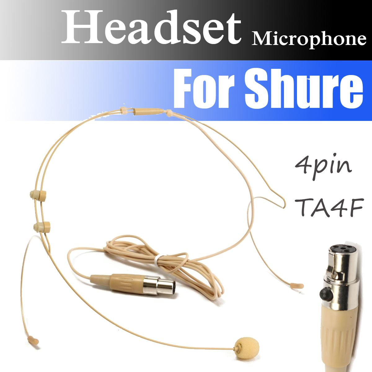 High Quality 4 Pin XLR Plug MIC Dual Ear Hook Headset Head Microphone For Shures Wireless Mini TA4F Plug Head-Mounted Microphone