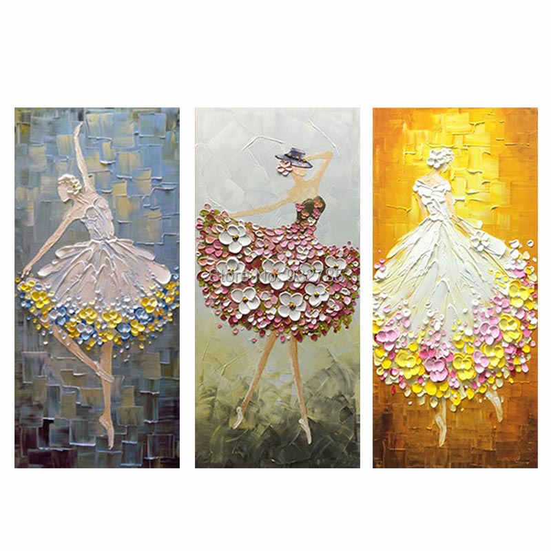 Thick oil Knife Handpainted Dancer Ballet Picture Modern Oil Painting Wall Art Decoration No Frame