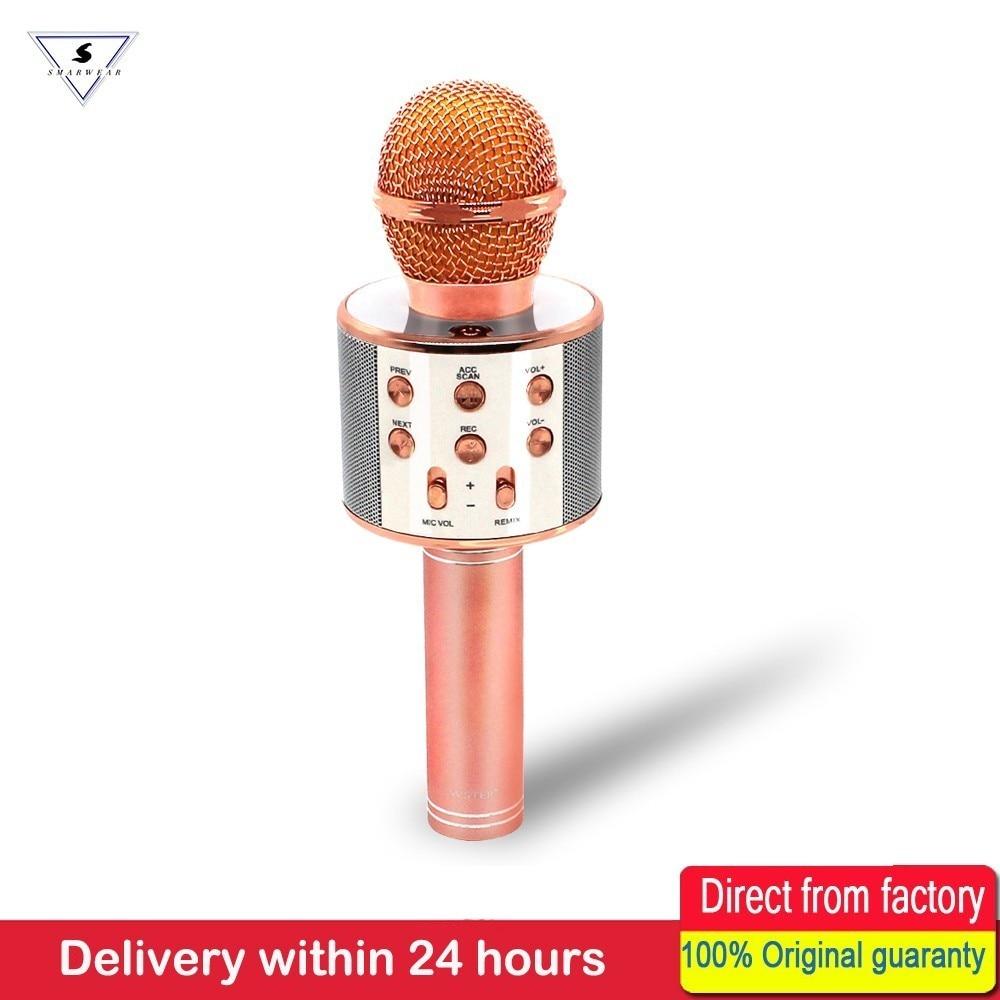 WS858 Speaker Portátil Bluetooth Para Casa KTV Cantar Karaoke Microfone Sem Fio Handheld & Music Player Mic Para Ios Andriod Telefone