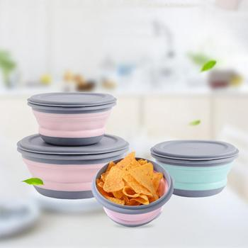 3PCs Outdoor Camping Tableware Sets Silicone Folding Lunch Box Portable Silicone Salad Bowl With Lid Silica Gel 3