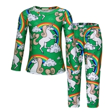 AmzBarley Pajamas For Girls Unicorn Pjs Sets Little Kids Cotton Sleepwear Cartoon Long Sleeve 2 Pieces Costume