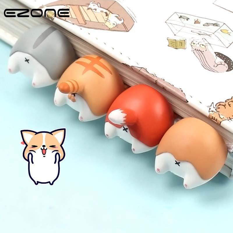 EZONE 1PC Cartoon Animals Ass Bookmark Kawaii Corgi/Fox/Hamster/Cat Bookmark Stationery Gift For Kids Creative Novel Stationery