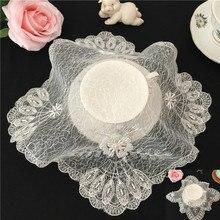 Square 25cm Mesh Jacquard Lace Modern Style Napkin Placemat Vase Cushion Table Mat Lamp Pad Set-top Box Rice Cooker Cover Towel lace panel dot jacquard mesh top