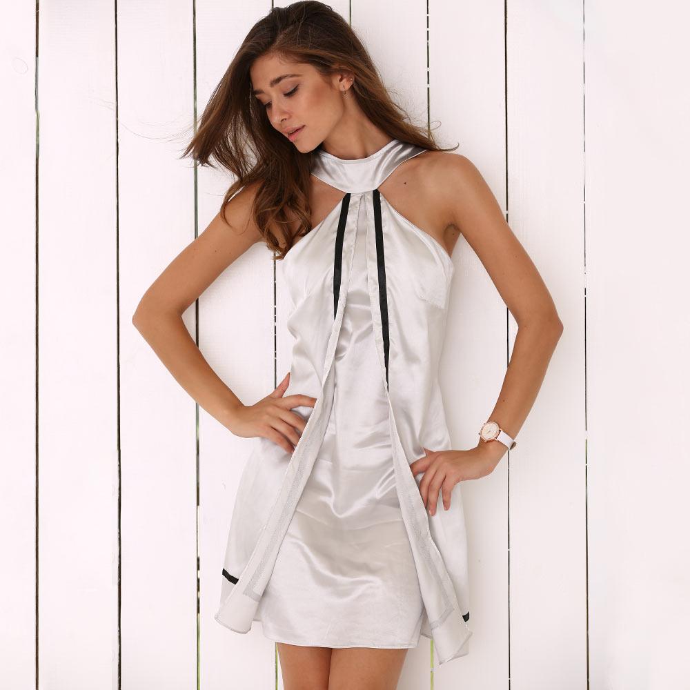 Летнее платье женское с лямкой на шее из искусственного двух частей атласное мини-платье сексуальное повседневное курортная одежда Robe Femme ...