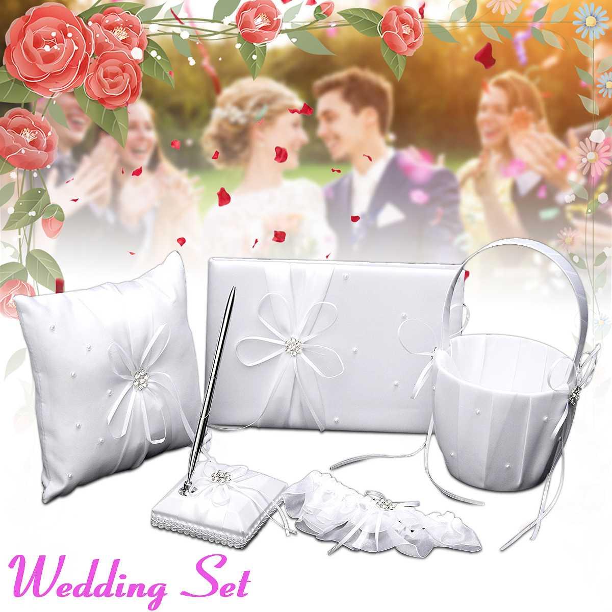 6 pièces bricolage mariage fleur fille panier anneau oreiller livre invité Signature stylo ensemble pour romantique nuptiale mariage décorations accessoires