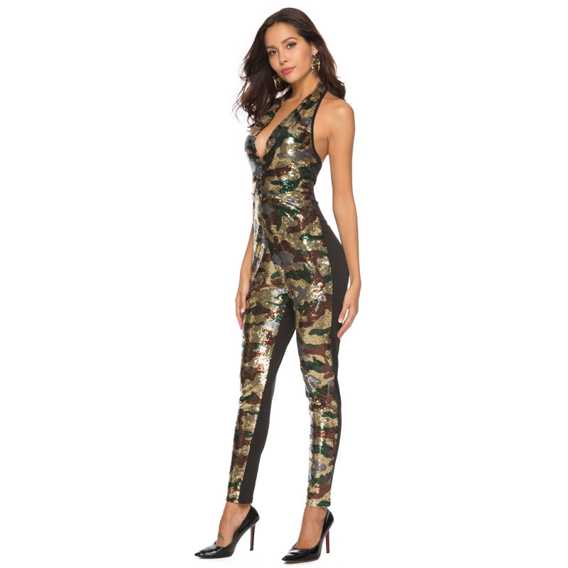 VITIANA Women Sexy Jumpsuit Female 2019 Colour Lace Up Sleeveless Deep V-Neck Backless Beach Jumpsuit Club Camouflage Rompers