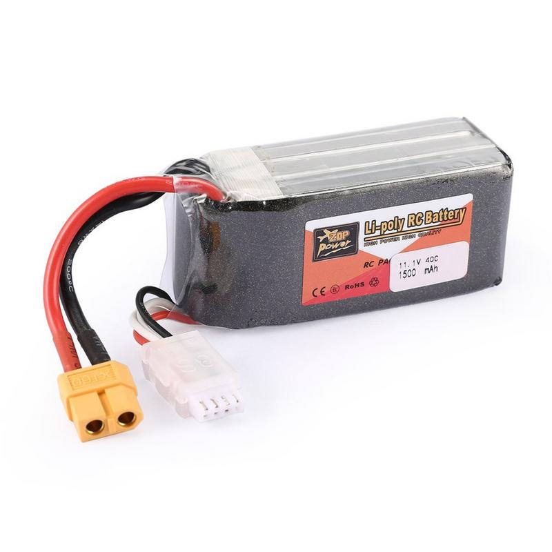 ZOP Power 11.1V 1500mAh 40C 3S 3S1P Lipo Battery XT60 Plug Rechargeable For RC Racing Drone Helicopter Car Boat Model