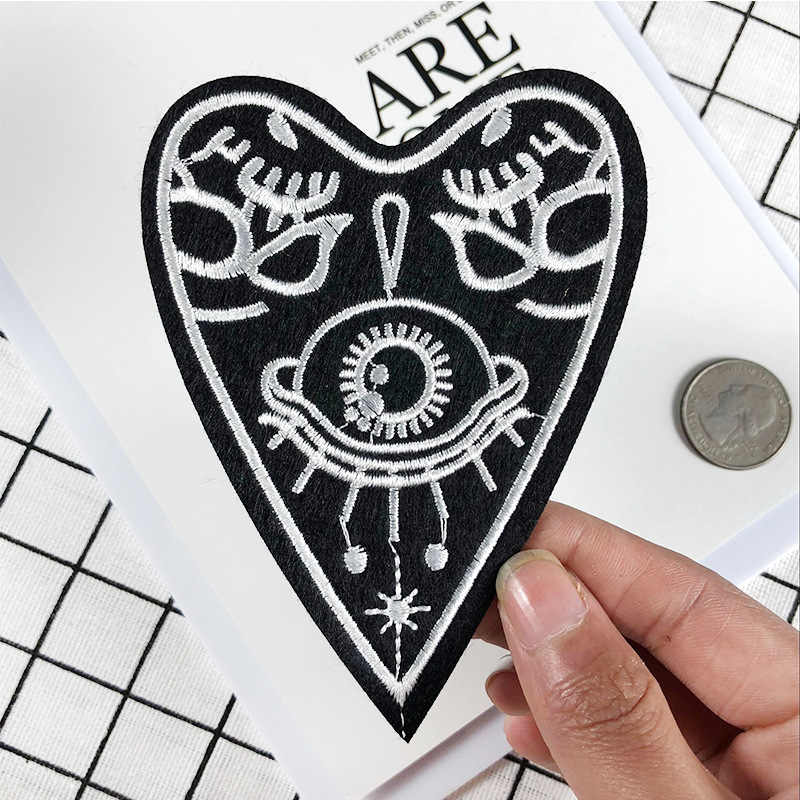 Fine Punk Style UFO Eye Embroidery Iron On patches for clothing Heart Love Skeleton Monster Eye Strange Badges Diy Accessory