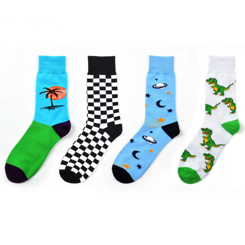 PEONFLY Autumn Pattern Space Universe Lattice Dinosaur Men Funny Happy Cotton Personality Tide   Socks   harajuku hip hop clothes