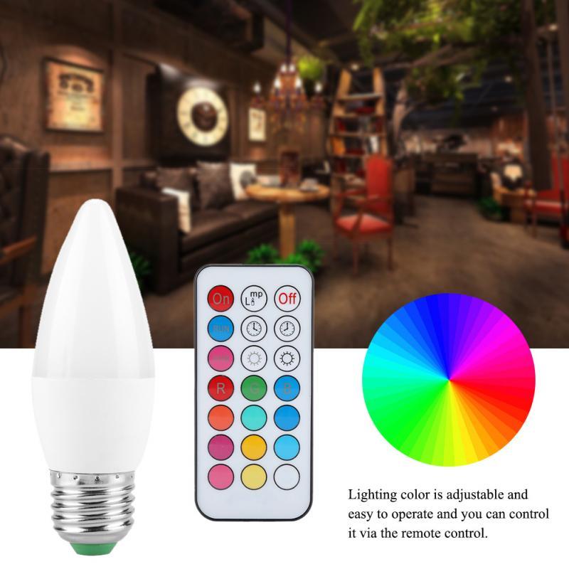 3W Candle Light Bulb Multi Color Changing LED Candle Bulb E27, B22, E14, E12 Lamp LED Bulb AC85-265V With Remote Control