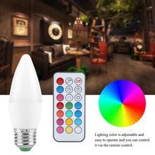 3W Свеча светильник лампочка мульти Цвет меняющийся светодиодный лампы в форме свечи лампы E27, B22, E14, E12 светильник светодиодный лампы AC85-265V с пультом дистанционного управления Управление