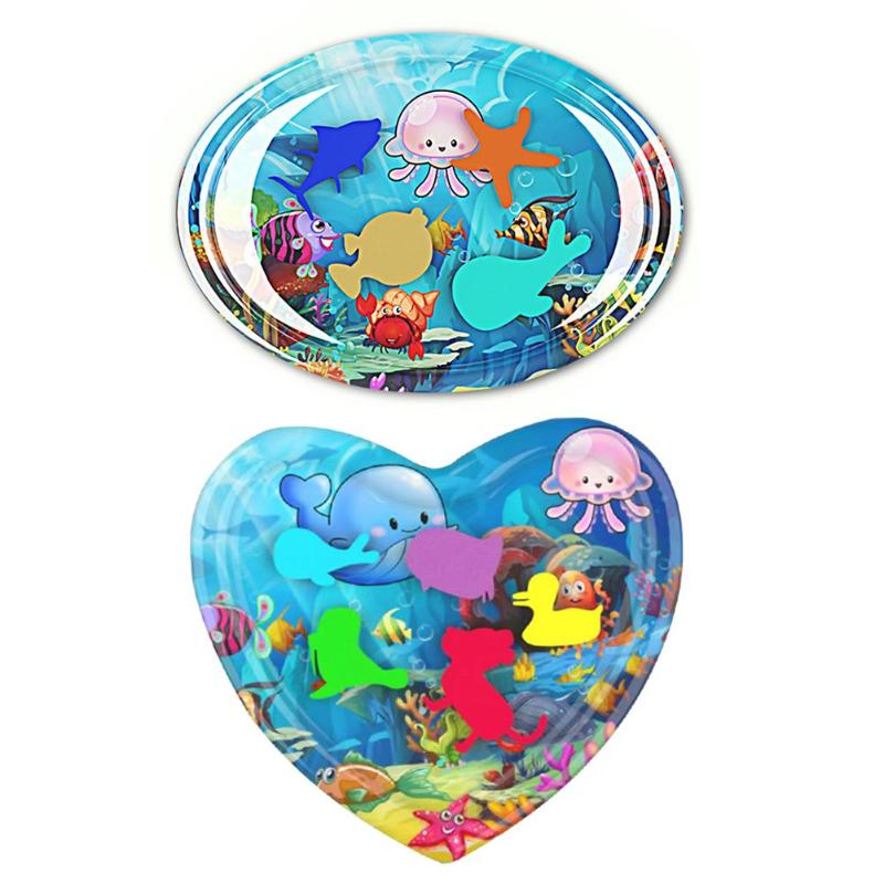 Baby Water Play Mat Ice Pad Inflatable Thicken PVC Kids Tummy Time Playmat Circle/Heart Shape Swimming Pool Activity Mat Toys