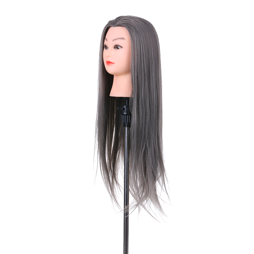 Synthetic Mannequin Head Female Hair Head Doll 22 Inches Mannequin Doll Head Hairdressing Training Heads Styling With Fiber Aesthetic Appearance Wig Stands Hair Extensions & Wigs