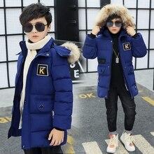 Детская зимняя куртка на мальчика парка 12 Детская одежда 13 мальчиков 14 зимние Костюмы 15 16 куртки толстые хлопковые утепленные-30 градусов
