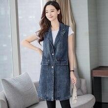 Spring Autumn Fashion Long Denim Vest Casual Single Breasted Waistcoat For Women Sleeveless Colete Feminino Plus Size 3XL