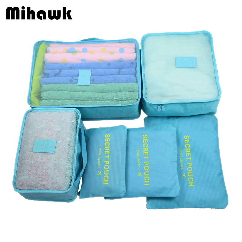 Mihawk 6Pcs/set Portable Travel Bags Large Capacity Packing Cube Clothing Underwear Sorting Organizer Luggage Accessories Supply