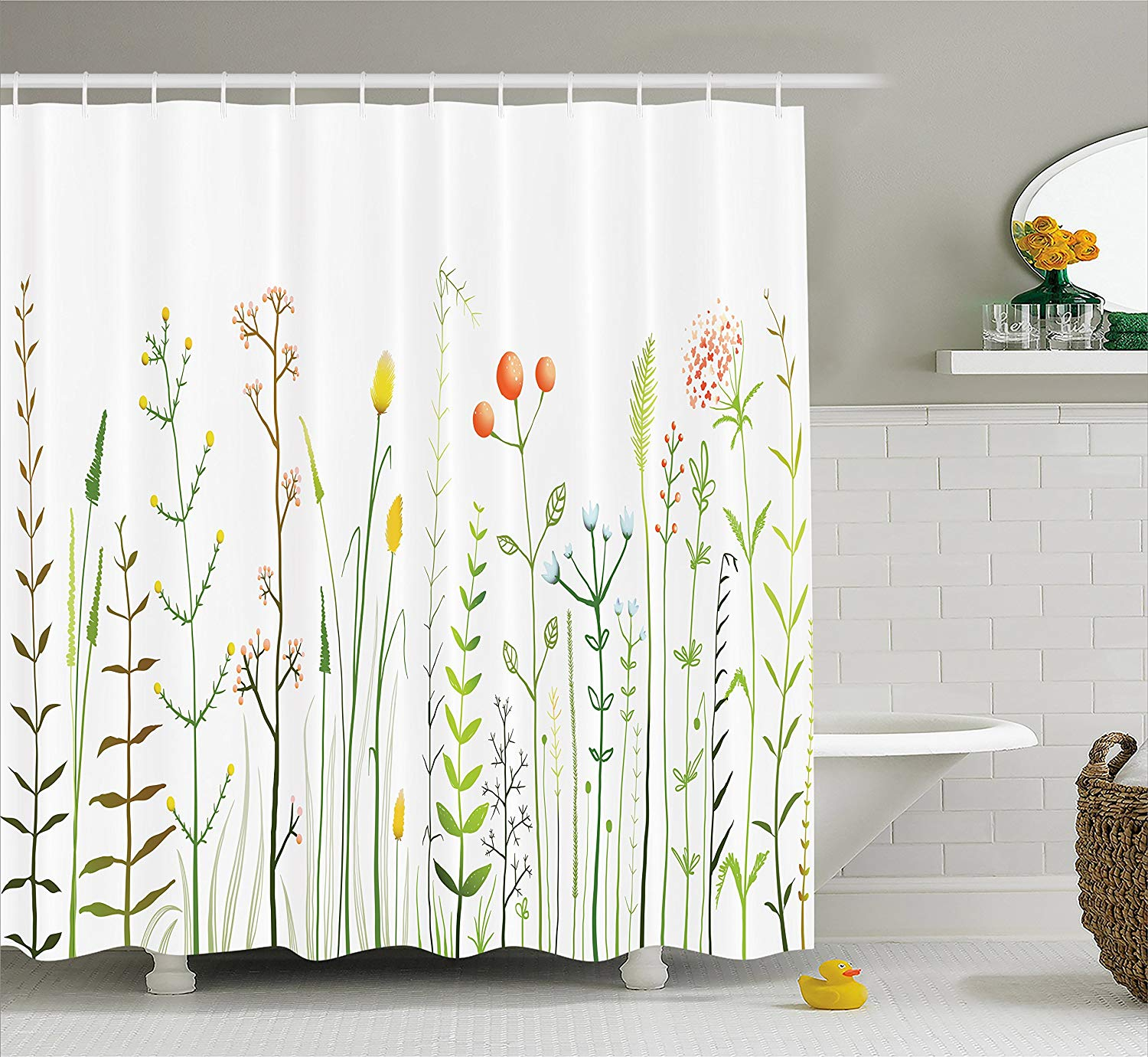 Lunarable Spring Shower Curtain Blossoming Wildflowers