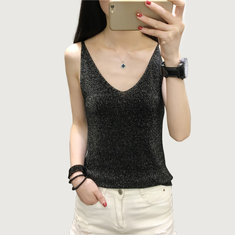 Women Tops Knitted Sling Sexy Deep V collar Sleeveless Gold Wire Knitting Tank Female Lnside Wear Slim Knitted Camisole Top in Tank Tops from Women 39 s Clothing